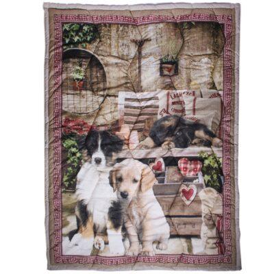 plaid scaldotto trapuntato cotone animali cani