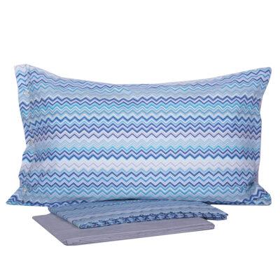 Completo lenzuola righe zig zag azzurro