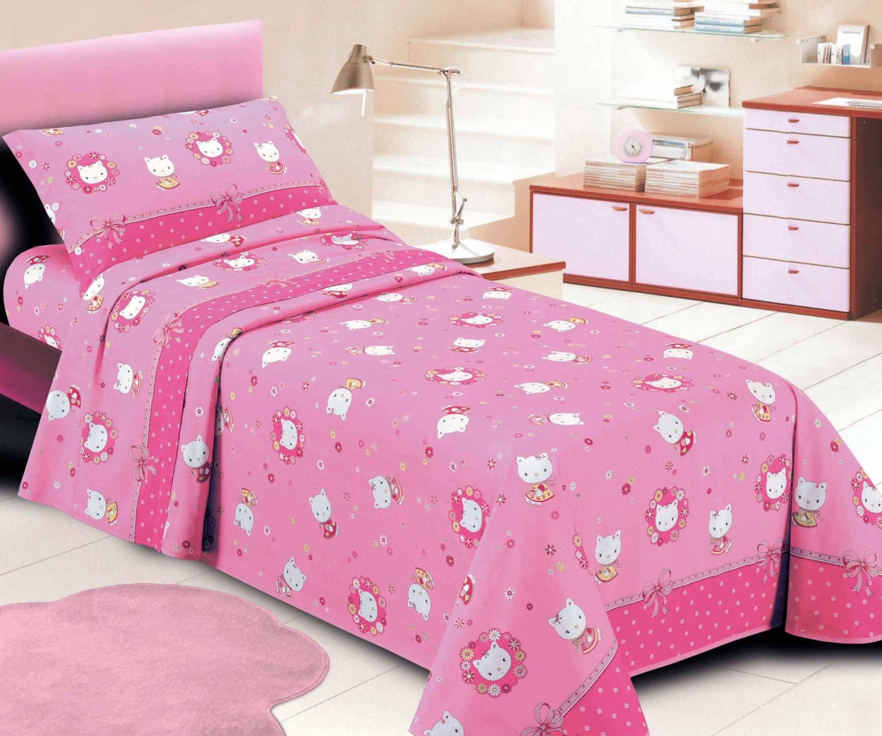 Completo letto gattino kitty puro cotone cose di casa un mondo di accessori per la casa - Lenzuola letto singolo bambino ...