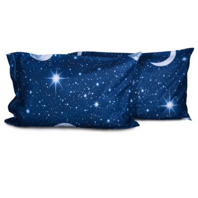 federe lenzuola flanella blu luna stelle