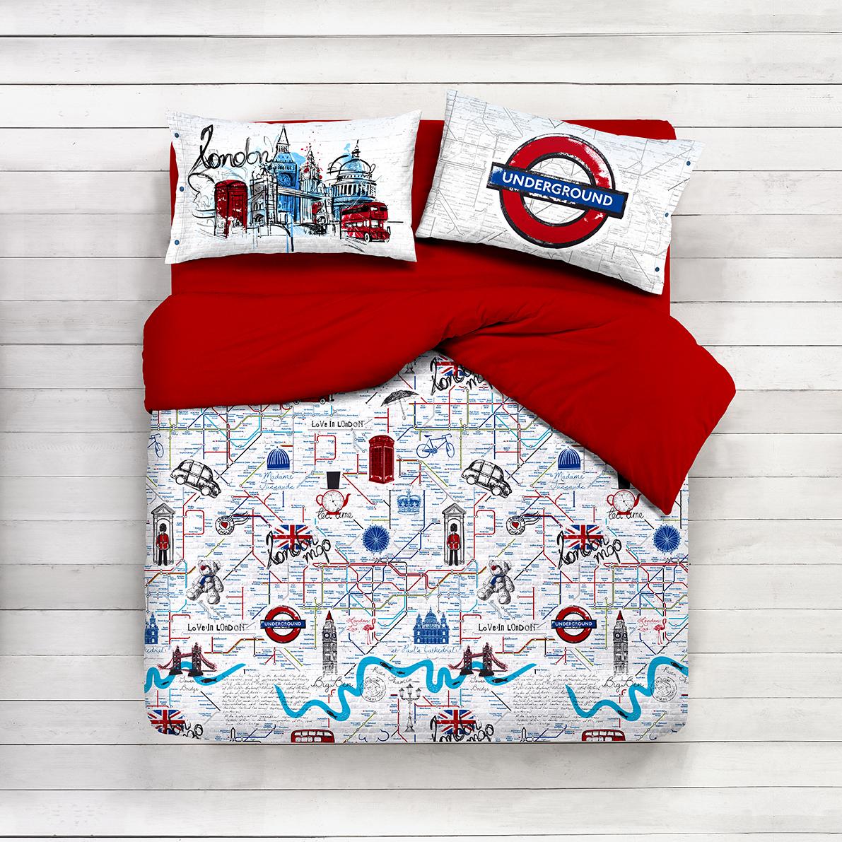 Lenzuola Una Piazza E Mezza.Completo Lenzuola Puro Cotone London Underground
