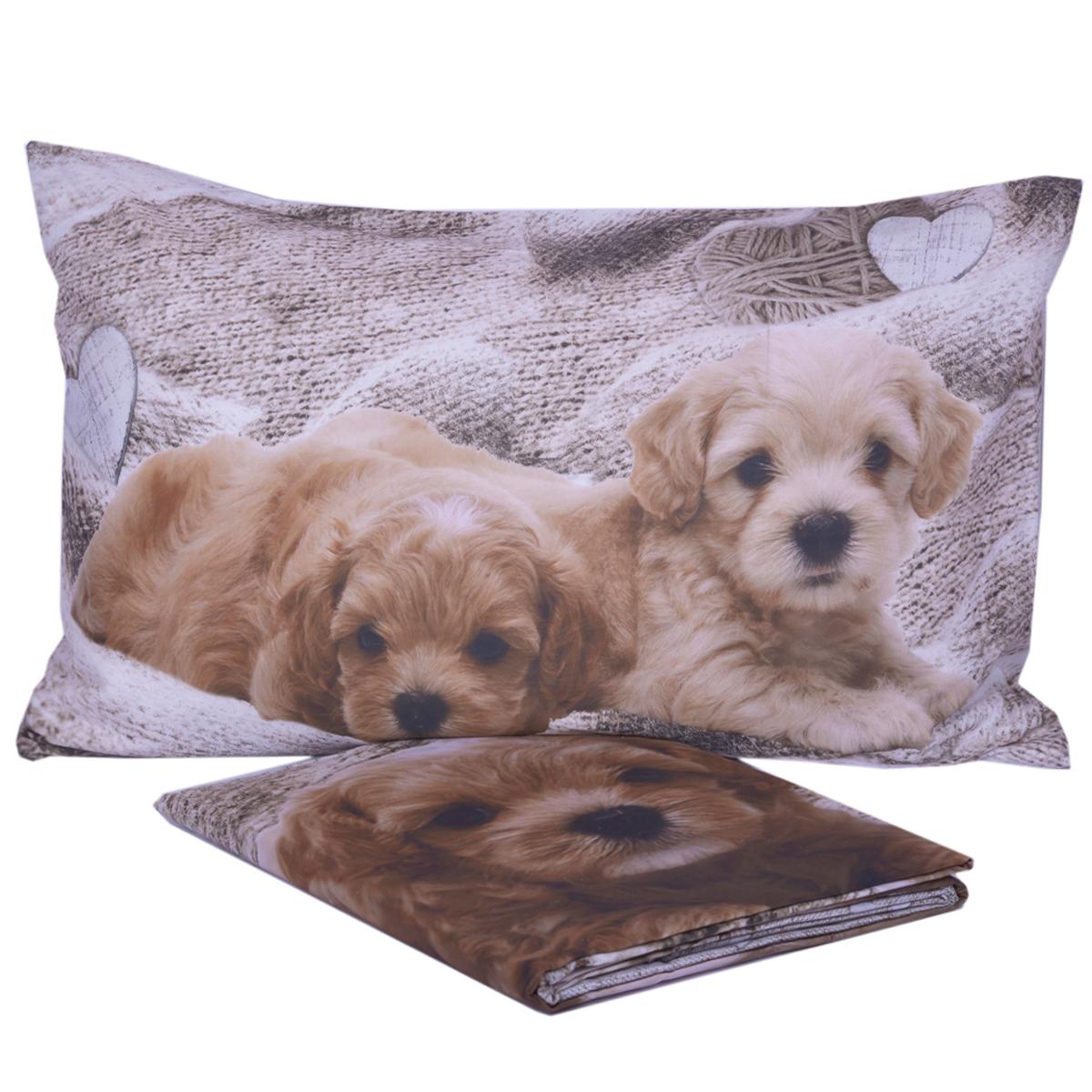 Copripiumino Con Cani.Parure Copripiumino Cuccioli Stampa Digitale In Puro Cotone Cose