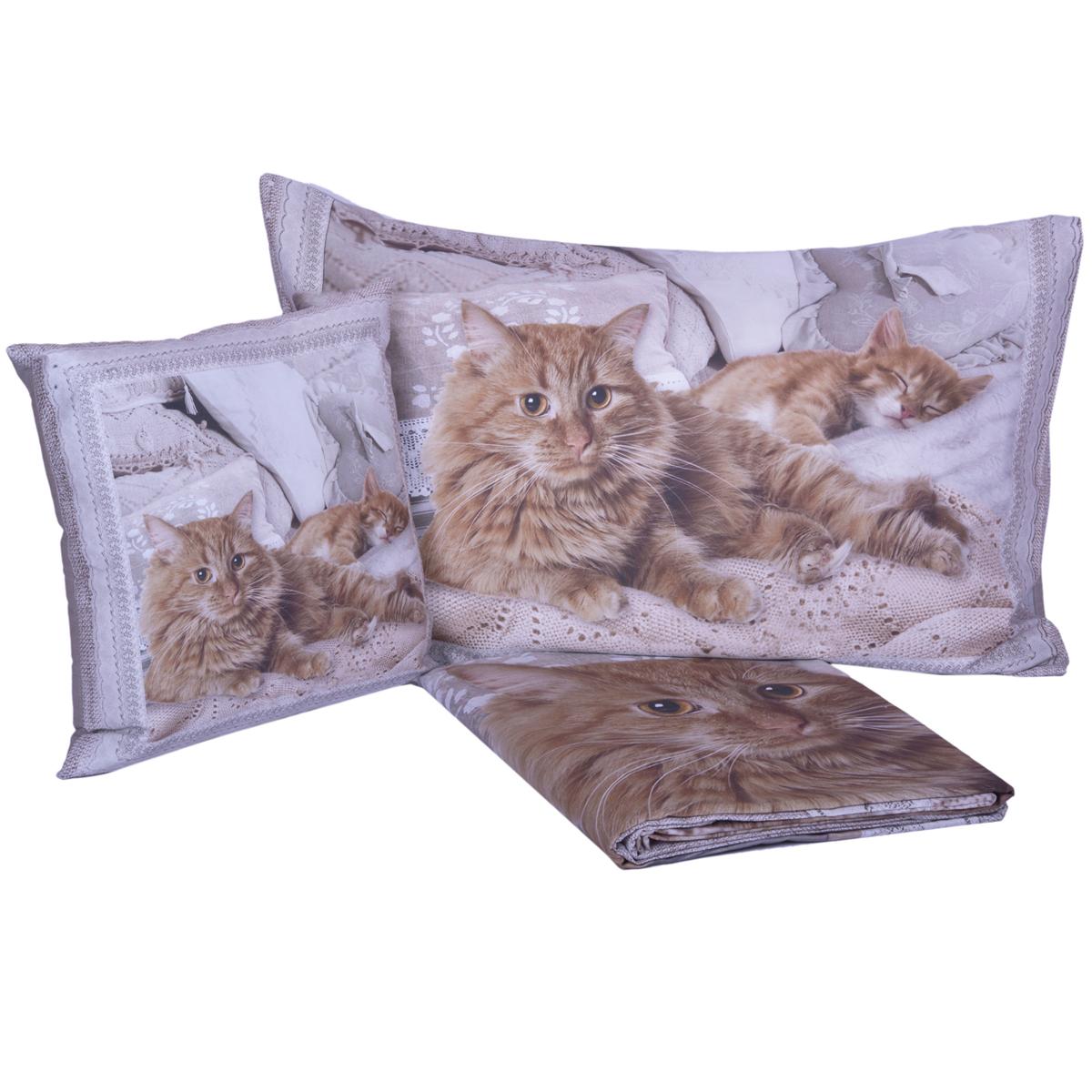 Copripiumino Gatti.Parure Copripiumino Gatti Miao Stampa Digitale In Puro Cotone