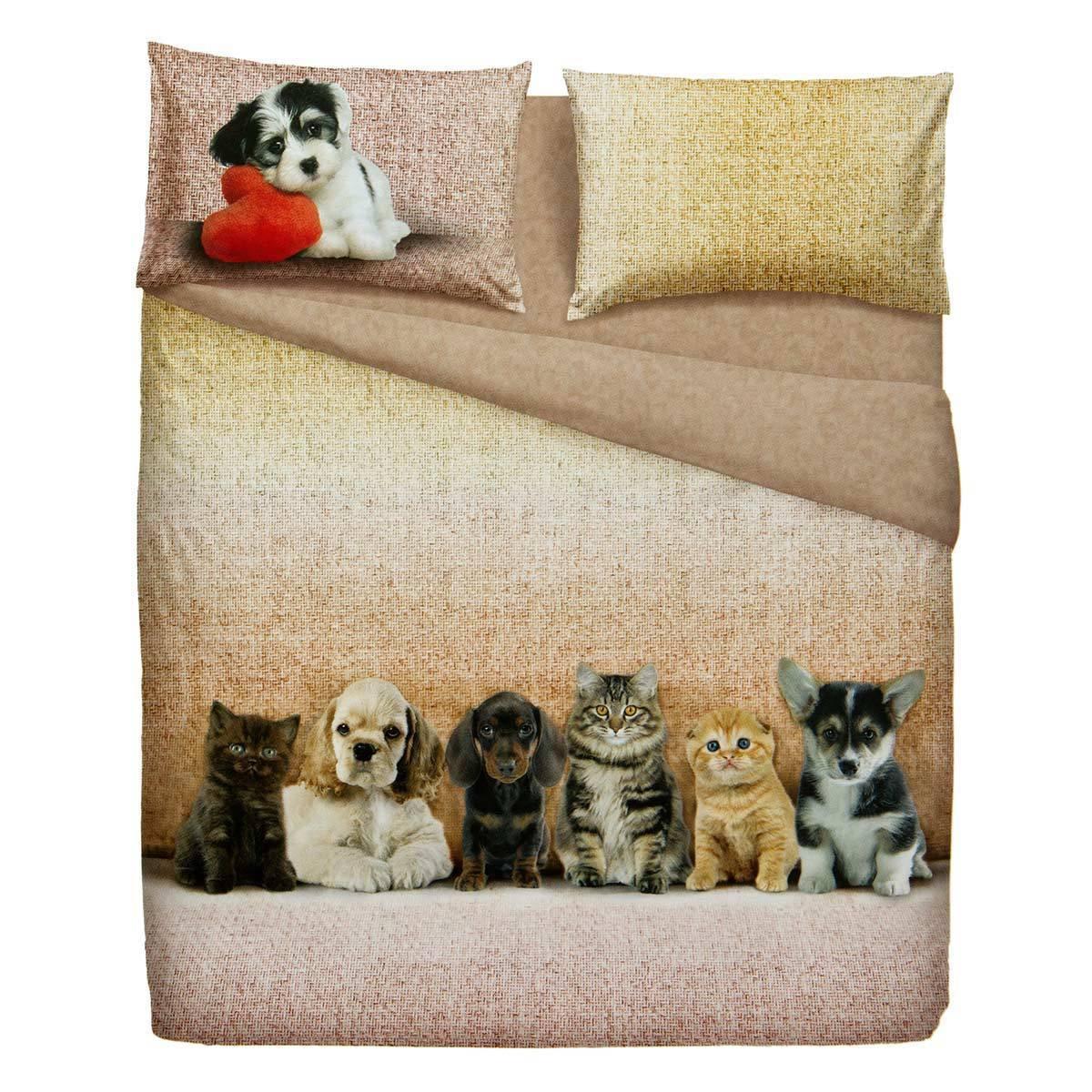 Lenzuola Matrimoniali Con Cani.Completo Lenzuola Bassetti Extra Dogs And Cats Cose Di Casa Un